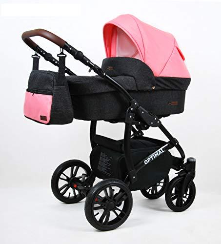 Kinderwagen 3in1 2in1 Set Isofix Buggy Babywanne Autositz Maximum by SaintBaby Black Coral 3in1 mit Autositz