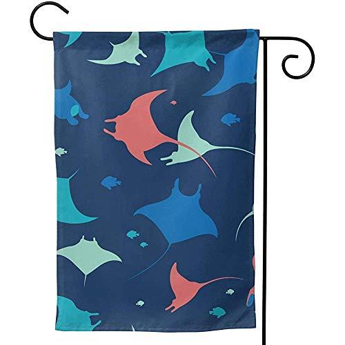 CHANGSHABF Betoverde Tuin Vlaggen, Aangepaste Thuis Tuin Behang Met Zee Dieren Op Blauwe Achtergrond Decoratie 70X102Cm Dubbelzijdige Tuin Vlag