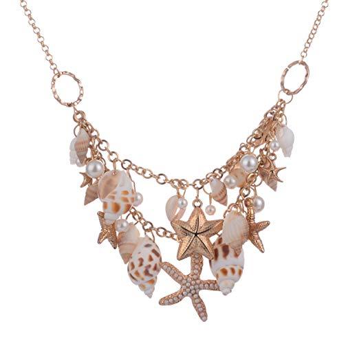 Happyyami Collar de Babero de Concha Marina Collar de Concha Exquisito Collar de Perlas de Playa para Mujer Playa Mar (Dorado)