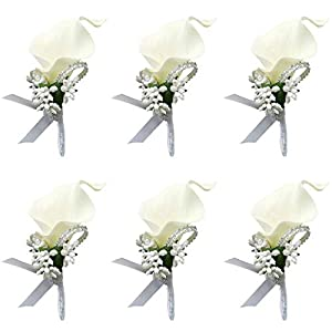 ChezMax Calla Lily Blue Boutonniere Handmade Silk Flower with Ribbon Corsage for Bride Groom Wedding Party