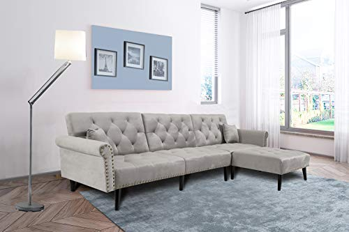 Light Gray Sectional Sofa Sleeper Bed,JULYFOX 900 LB Heavy Duty 115 inch Velvet Sofa Futon Chaise Diamond Button Tufted Upholstered Modern Day Bed W/Nailhead Trim for Living Room Small Spaces Office