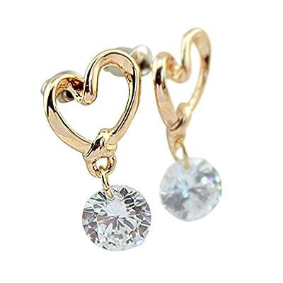 Heart Leverback Earrings 18K White Gold Plated Dangle Drop Crystal Earrings for Women Girls Gift for Valentine Wedding Anniversary