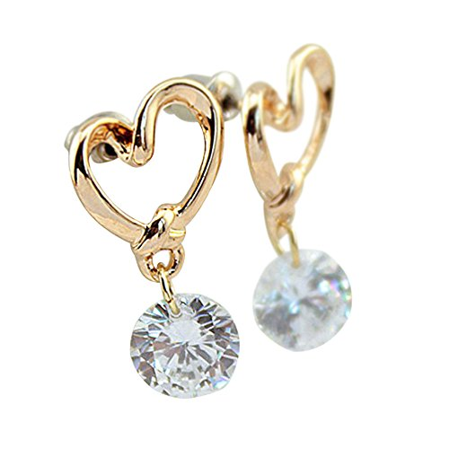 Heart Leverback Earrings 18K White Gold Plated Dangle Drop Crystal Earrings for Women Girls Gift for...