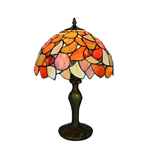 Tokira Lámparas de mesa grandes estilo Tiffany amarillas para sala de estar, pantalla de 12 pulgadas, lámparas de mesa de noche con vitrales vintage para salón, bombilla LED gratuita