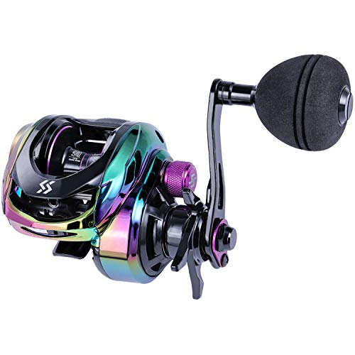 Sougayilang Baitcasting Reels - Colorful Fishing Reel, High Speed Baitcaster with 9+1 Ball Bearings, Gear Ratio 8.0:1, Magnetic Brake System Power Handle Casting Reels -Left