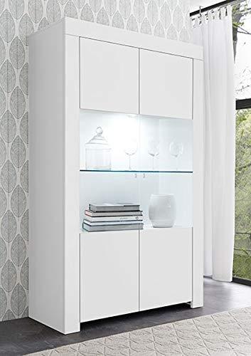Arredocasagmb.it vetrina 2 Ante Moderno Bianco Opaco Soggiorno Madia Buffet con sportelli Vetro Design Fire 06
