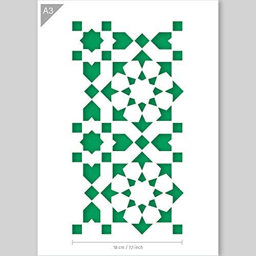 QBIX Fliesenschablone - Muster Schablone - A3 Größe - Wiederverwendbare Kinderfreundliche DIY Schablone zum Malen, Backen, Basteln, Wand, Möbel