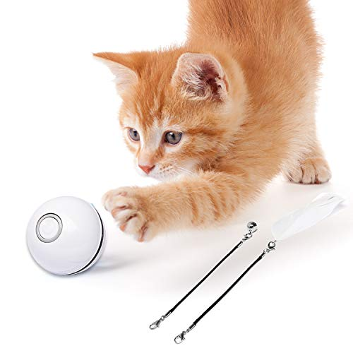 猫おもちゃ 猫ボール 猫じゃらし 電動 光るボール 自動回転 USB ストレス解消 運動不足予防 2021最新(ホワイト)
