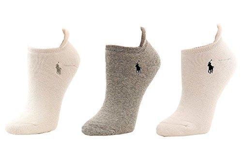 LAUREN Ralph Lauren Heel Tab Cushion Sole Cotton Low Cut 3 Pack Grey/White 9-11 (US Women's size 4-10.5)