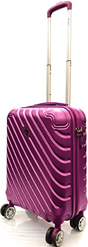 21' Cabin Approved Super Lightweight Durable Carry-ons Hand Luggage Trolley 8 Wheeled Luggage Bag for Ryanair, EasyJet, Jet2, BA, Thomas Cook and Many More Airlines (Purple 881)