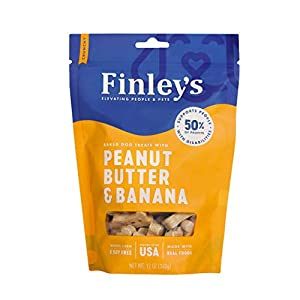Finley's Peanut Butter & Banana Dog Biscuits Treats for Dogs Made in USA | Natural Peanut Butter & Banana Wheat Free Dog Treats | Healthy Dog Treat Bags (12 oz)