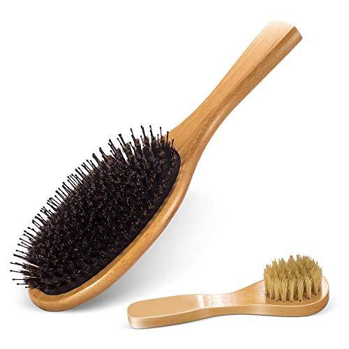 Masthome Haar Bürste geeignet für nasse,trockene,glatte und lockige Haare,Natürliche Haarbürste ideal für Frauen Männer Kinder Reduzieren Frizz und Massage Kopfhaut,aus Wildschweinborsten