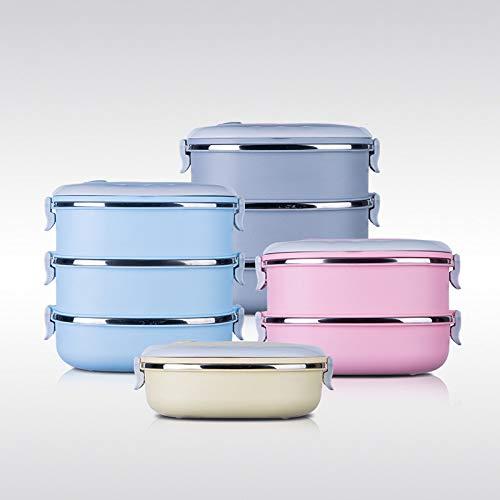 Nueva fiambrera para niños con aislamiento de acero inoxidable Cuadrada Caja de almuerzo japonesa multicapa Caja de bento sellada a prueba de fugas Almuerzo térmico Azul 1