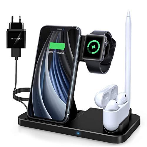 Wireless Charger,4 in 1 Induktive ladestation Mit 18W Schnelles Adapter für Apple Watch Airpods Pro, Qi-Zertifiziert Kabelloses Ladegerät für iPhone 12/SE/11/X/XR/Xs Max/8, Samsung Galaxy S20/S10