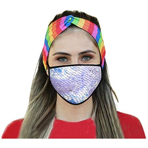 Zhousir Fashion Face Covers, Reusable, Sequin, Face Bandanas, for Women Air Filter Face Bandanas Adults, Washable Face Cover, Face Covering for Men Unisex