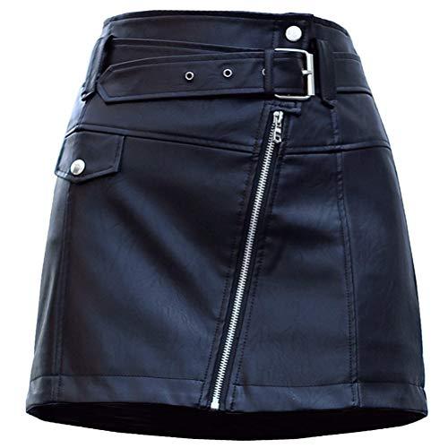 DarkCom dames hoge taille Bodycon Faux leer A lijn Mini rok met riem