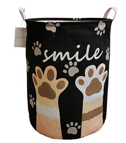 LEELI laundry Hamper with Handles-Collapsible Canvas Basket for Storage Bin,Kids Room,Home Organizer,Nursery Storage,Baby Hamper,19.7×15.7 (black paw)