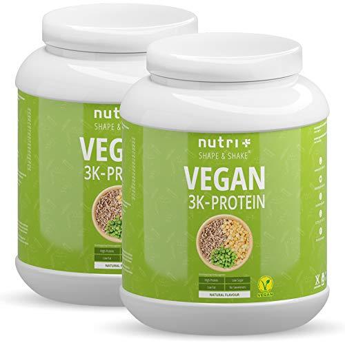 VEGANES EIWEIßPULVER Neutral ohne Süßungsmittel - 85,8% Eiweiß - 2kg Nutri-Plus Shape & Shake Vegan 2000g - Natural Proteinpulver unflavored - natürlich auch zum Kochen und Backen