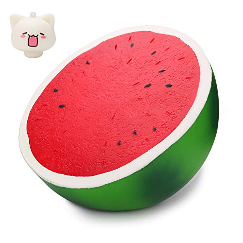 WATINC 10inch Jumbo Squishies, Large Watermelon Squishies, Birthday Gift for Kids, Giant Simulation Cute Fruit Squeeze Toy for Collection, Decorative Props, Stress Relief, Bonus Cat squishies