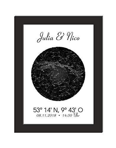 Personalisiertes Wandbild/Sternenkarte/Geschenk Geburtstag/Jahrestag/Koordianten/Geschenk Hochzeit/Einweihungsgeschenk/DIN A 4, ohne Bilderrahmen