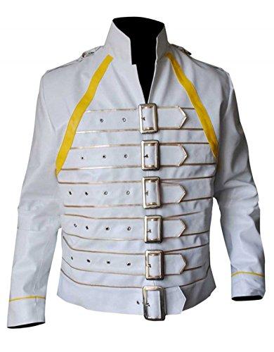 EU Fashions Freddie Mercury - Chaqueta de disfraz para mujer, color amarillo y blanco Blanco Freddie Mercury - Chaqueta de imitacin, color blanco XXL