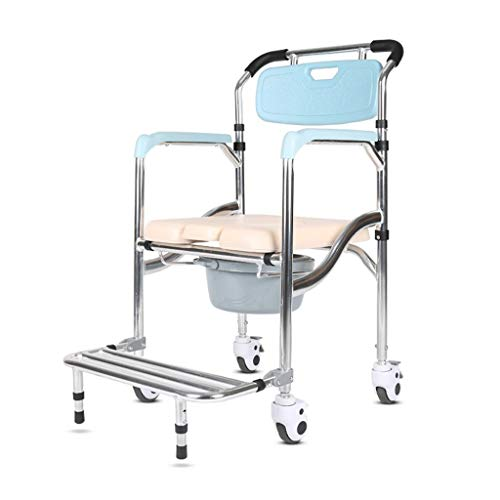 Buy Discount MUMA-Shower Stool Folding Shower Chair Bath Stool Elderly Commode Toilet Chair with Pad...