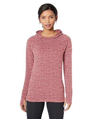 Amazon Essentials Women's Brushed Tech Stretch Popover Hoodie, wild ginger space dye, M