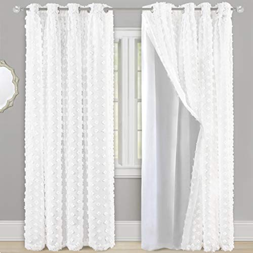 DriftAway Olivia Pinch Pleated Voile Chiffon Sheer Blackout Curtain Liner Embroidered with Pom Pom One Panel 2 Layers Grommet Curtain for Kids Nursery Room 52 Inch by 84 Inch Off White