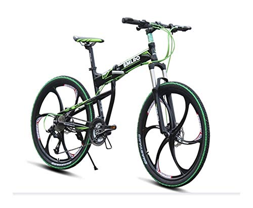 LQRYJDZ 26 inch 27 Speed Folding Bike Mountain Bike Front Shock Aluminum Alloy (Color : Black Green, Size : 27)
