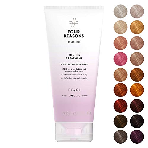 Four Reasons Color Mask - Pearl Blonde - (19 Colors) Toning Treatment, Color Depositing Conditioner, Tone & Enhance Color-Treated Hair - Semi Permanent Hair Dye, Vegan and Cruelty-Free, 6.8 fl oz