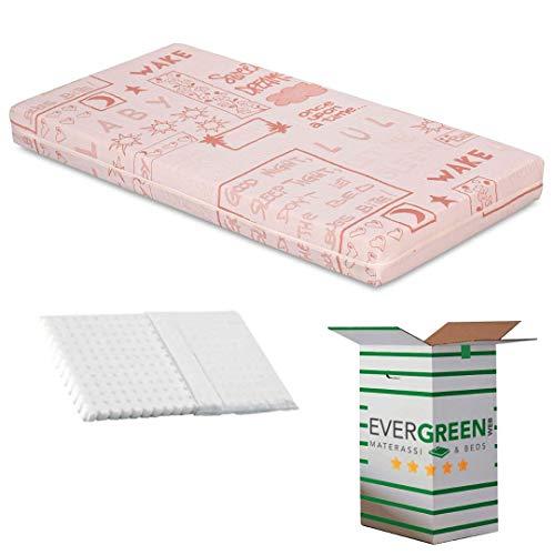 EvergreenWeb - Colchón para Niños 70x160 y 12 cm de Altura + Almohada Anti-Asfixia a Medida Gratis, para Cunas, Recubrimiento Rosado Removible de Algodón 100% Natural, Lavable y Hipoalergénico, Bebé