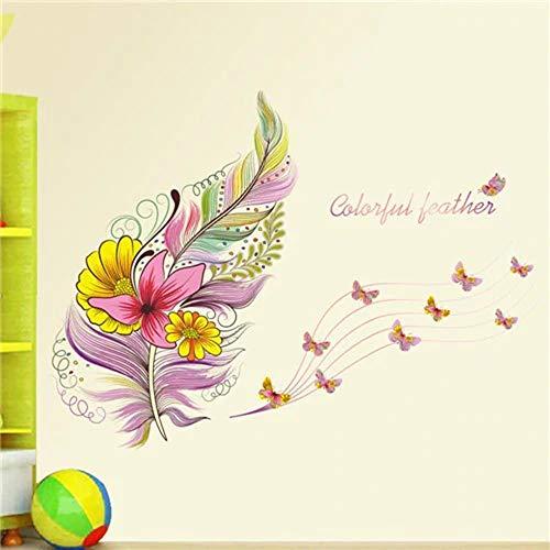 muxiao Wandtattoo, Wandaufkleber Blume 3D Schmetterling, Federpflanzen, Wohnzimmer, Kindergarderobe, Küche, Kleiderschrank, Flur, Fenster, Dekoration Typ B.