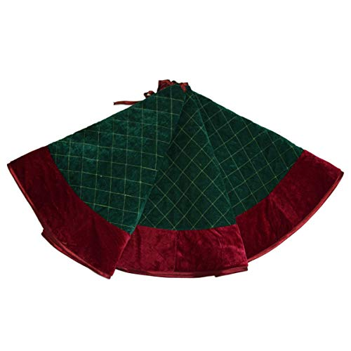 Gireshome Green Velvet Quilted Diamond Lattice Center,Red Velvet Border Christmas Tree Skirt-48inch