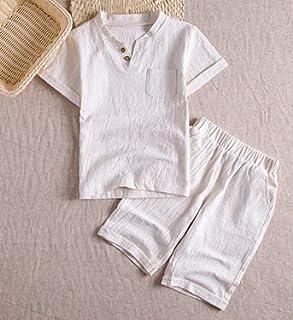 [MIKU]綿麻 ルームウェア 半袖 短パンツ 上下セット ボーイズ 部屋着 ウエスト紐 首元 ボタン 春 夏 麻 ズボン ショートパンツ 無地 スウェット セット 5色