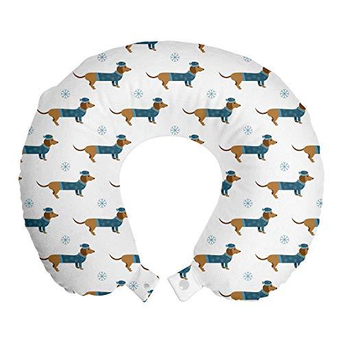 ABAKUHAUS Teckel Reiskussen, Hond in Trui Snowflake, Reisaccessoire met Geheugenschuim voor Vliegtuig en Auto, 30 cm x 30 cm, Ginger Dark Turquoise
