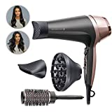 Remington Asciugacapelli Curl&Straight Confidence, 2200 Watt, Concentratore Ricurvo, 3 Temperature/ 2...