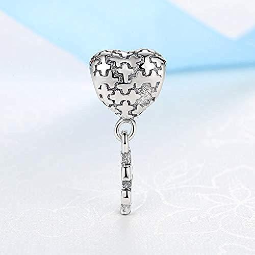 Pulsera Charms Abalorios Bead Charm Love Puzzle Colgante Corazón 925 Colgante De Plata Esterlina Con Cuentas Fit Original Charm Mujeres Pulsera Brazalete Diy Fabricación De Joyas