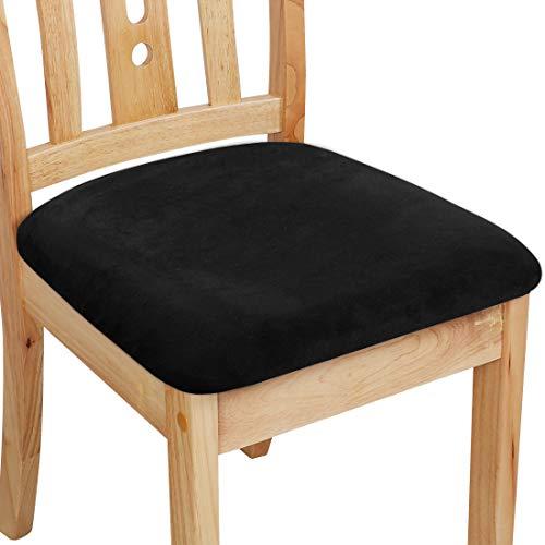 PiccoCasa - Funda de cojín con lazos, terciopelo elástico impreso para sillas de comedor, cocina, juego de 6 unidades, color negro