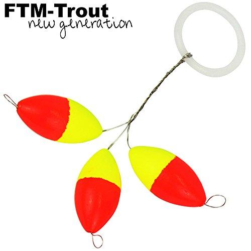 FTM Trout Piloten oval orange/gelb - 3 Pilotposen zum Forellenangeln, Bissanzeiger zum Angeln auf Forellen am Forellensee, Durchmesser:6.3 x 13.2mm
