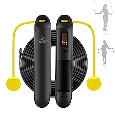 Cordless Jump Rope, Weighted Ropeless Jump Ropes for Fitness, Adjustable Skipping Rope with Counter, Tangle Free Jumping Rope for Workout Crossfit Gym, Bod Ropes Beachbody for Women Men Kids, NEIQII