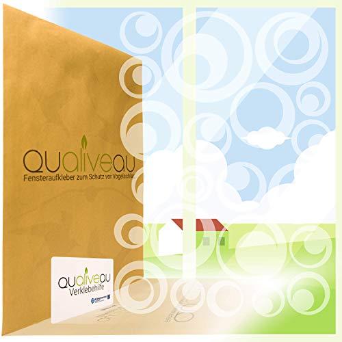 QUALIVEAU® 22 Retro Kreise Aufkleber zum Schutz vor Vogelschlag | Komplett – Set mit Verklebehilfe | Farbe: Milchglasfolie