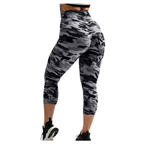 Xniral Damen Yoga Hosen 3/4 Tarnen Kurzhose Caprihose Hohe Taille Workout Fitness Leggings rutschfeste Basic-Hose(Schwarz,L)