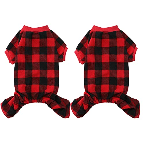 Pet Pajamas for Dogs 2 Pieces Buffalo Plaid Dog Sweaters Winter Clothes Soft Fleece Christmas Pet Jumpsuit Matching Pajamas for Medium Sized Dog and Cat Warm Pet Apparel Clothing