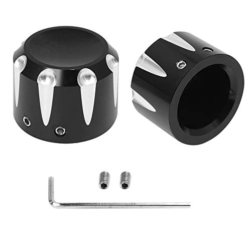 WINALL Black Front Axle Nut Cover Cap Kit for Harley Touring Electra Glide Softail Dyna Street Glide Sportster