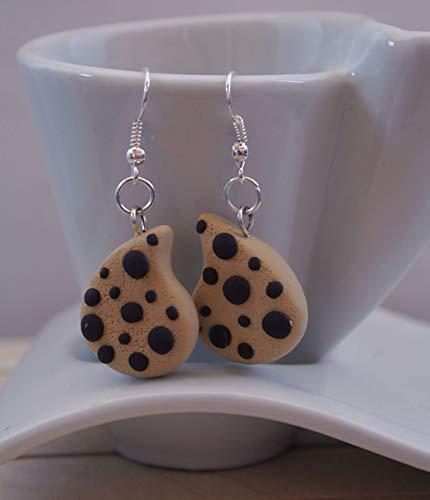 Orecchini Ispirati alle Gocciole in FIMO Kawaii Cute Earrings Beige Jewerl Handmade Polymer clay Handmade by Coffoland