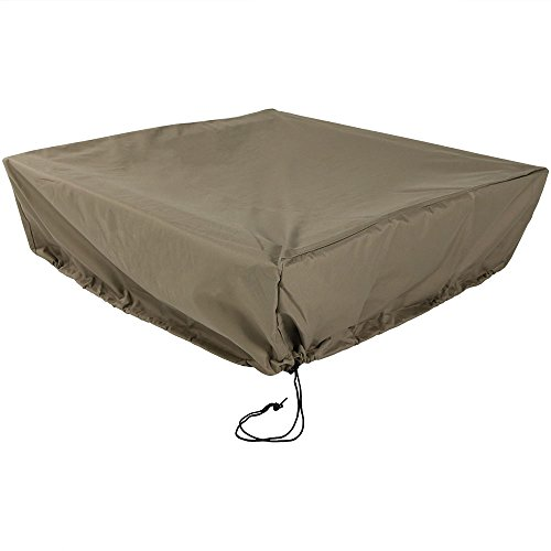 Sunnydaze Outdoor Square Fire Pit Cover - Heavy Duty Protective Khaki 300D Polyester with Drawstring Closure and PVC Backing - 48-Inch