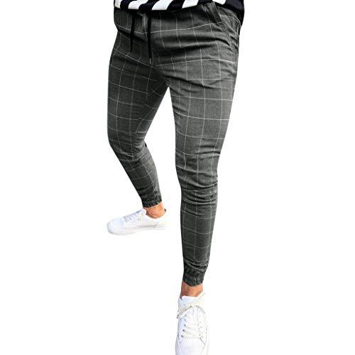 MINIKIMI Jogginghose Herren Hose Cargo Chino Jeans Stretch Jogger Sporthose Slim-Fit Freizeithose Karierte Hose Straight Drawstring Sweatpants (L, Dunkelgrau)