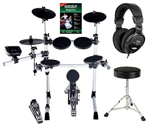 XDrum DD-402 E-Drum-Set Komplettset inkl. Hocker, Kopfhörer und Schlagzeug-Schule