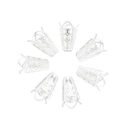Fashewelry 500 tapas de cuentas de filigrana plateadas con forma de cono tibetano de metal para joyería de 16 x 10 mm