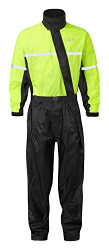 JDC Traje Impermeable Moto Lluvia Sobre Traje 1PC 1 Pieza - SHIELD - Amarillo/Negro - XXL - Largo Regular